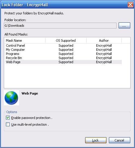Encrypt4all Folder Lock Dialog