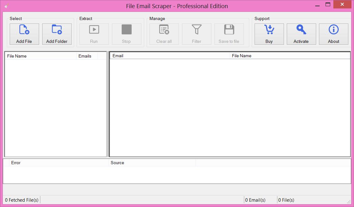 file email scraper main window