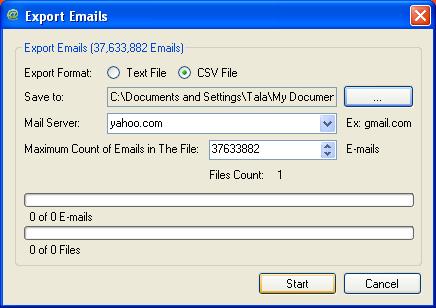 MEG Email Export Dialog