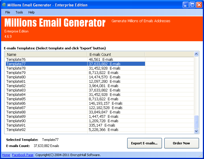 Millions Email Generator Lite Edition screenshot