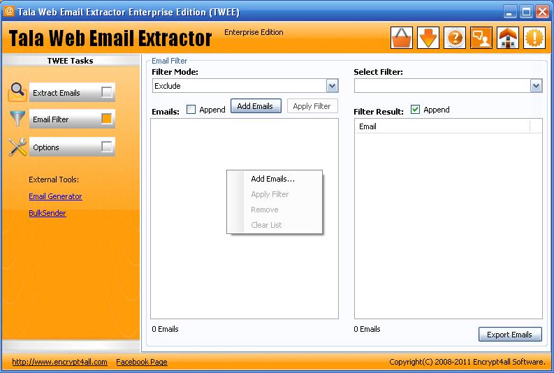 TWEE Email Filter Dialog